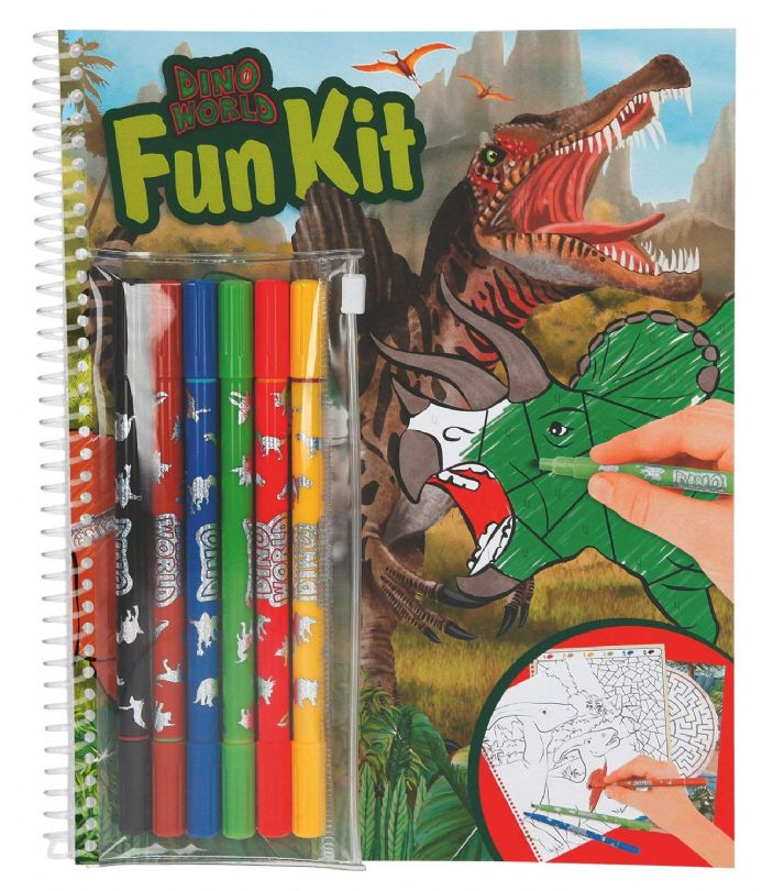 Dino Fun Kit - Colouring & Activities Book with Pens